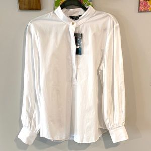 Half button down blouse with gold buttons